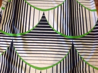 Retro Vintage Cotton Fabric Large Scallop Stripe Black Green 120 Cm X 300 Cm