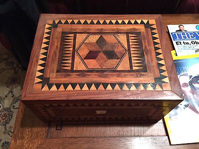 Rare Antique Tunbridge Inlaid Jewelry Box, Unique And Beautiful!