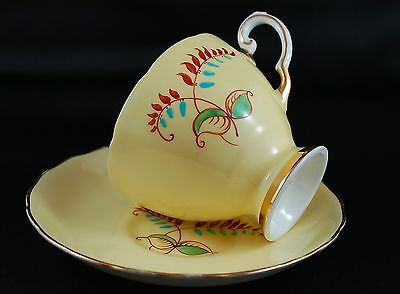 Tuscan Pastel Yellow Leafy Petal Fine English China Teacup & Saucer - 1950/60's