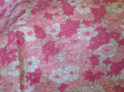 Retro Vintage Cotton Fabric Pink Floral 90 Cm X 180 Cm