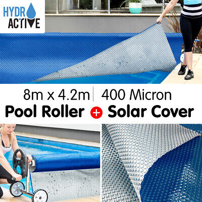 New 8m x 4.2m UV STABALISED SOLAR SWIMMING POOL COVER BUBBLE BLANKET PLUS ROLLER