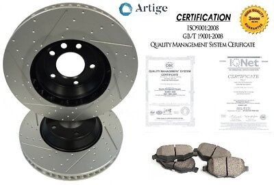 Ford Falcon Slotted Dimpled Front Brake Disc Rotors / Pads BA BF FG XR6 298mm