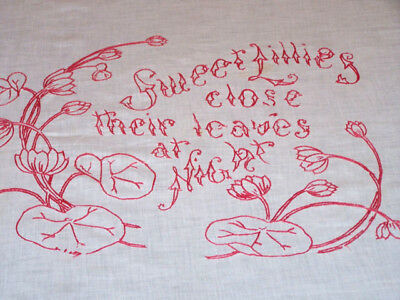 VINTAGE TURKEY REDWORK PILLOW SHAM Sweet Lilies Close their Leaves at Night 1900
