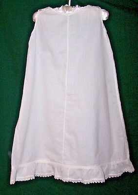 "Vintage Baby Slip, 24"" Long, Victorian Era, Snow White, Lace Trim Excellent Cond"