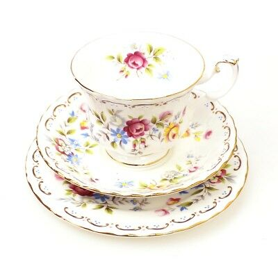 Vintage ROYAL ALBERT Jubilee Rose Tea Cup Trio FREE EXPRESS POST AUSTRALIA