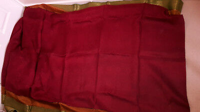 Dark Red Saree with floral patterns and green/orange border (No Blouse)