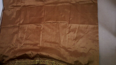 Brown Saree with gold and red floral border (No Blouse)