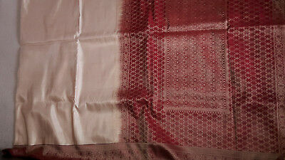 Red & Beige Saree with floral patterns and border (No Blouse)