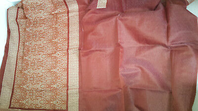 Dark Red Saree with floral patterns & gold border (No Blouse)