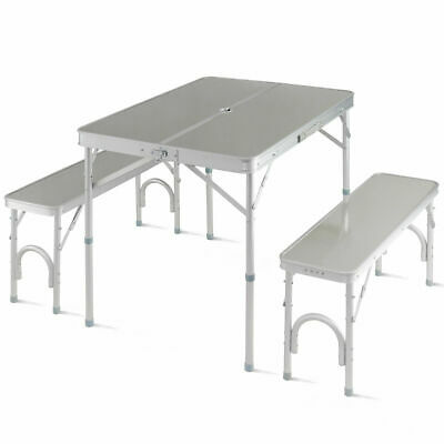 Aluminum Portable Folding Picnic Table Camping Suitcase w/ Bench 4 Seat Outdoor