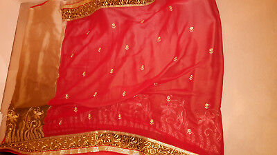 Red and Gold Saree with floral patterns and border (With Blouse)
