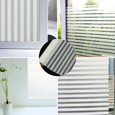 45x200cm Home Office Privacy Frosted Glass Window Film Striped Shutters Sticker
