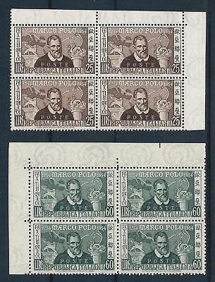 Italy 1954 Marco Polo pair in corner blocks of 4 Mint Never Hinged CV £37