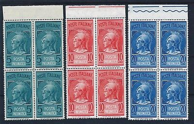 Italy 1947-1966 Pneumatic Post in marginal blocks of 4 Mint Never Hinged