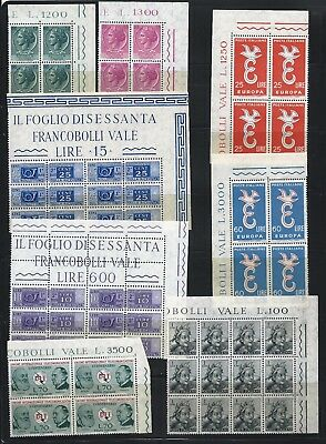 Italy 1955-1965 Selection of blocks of 4 to 12 Mint Never Hinged