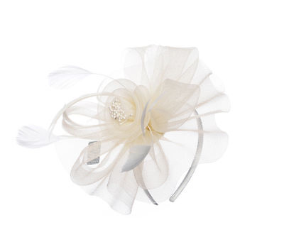 Stunning Ivory Floral  & Feather Pearl Fascinator Headband