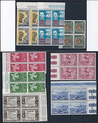Italy 1960-1966 Selection of marginal blocks of 4 Mint Never Hinged