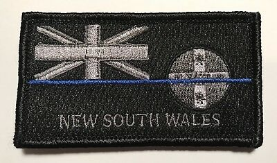 NSW Thin Blue Line, Police Patch *, Law Enforcement, State Flag, Hooks Rear,TBL