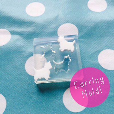 SILICONE EARRING MOLD - Westie Dog West Highland Resin Jewellery Earrings Mould