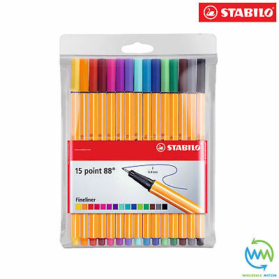 15 STABILO Point 88 FINELINER Pen 0.4MM TIP Drawing School COLOURS Pack PENS NEW