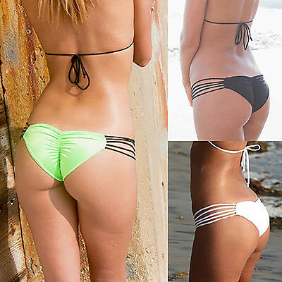 Bikini Thong Bottom Women Brazilian V Cheeky Swimwear Swimsuit Beach Underwear