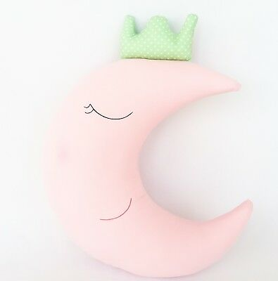 Magic, adorable pale pink and mint dots Half Moon with crown, Decorative Pillow