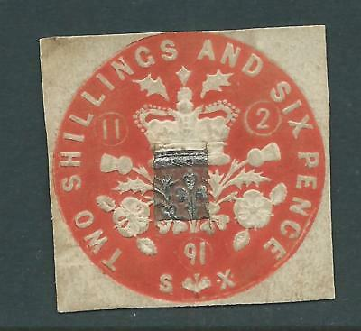 Queen Victoria Fiscal Revenues Stamp Two Shillings and Sixpence Embossed