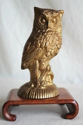 """Vintage Handmade Indian Brass OWL Figure - 5"""" Tall - Solid Brass Made in India"""