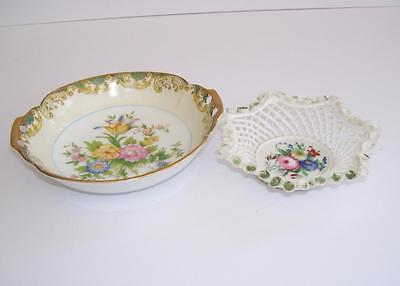 Antique Hand Painted Cut Work Dish and Vintage Noritake Twin Handle Dish.