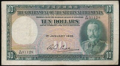 Straits Settlements 1935 Geo V 10 dollars note fresh original VF Rare