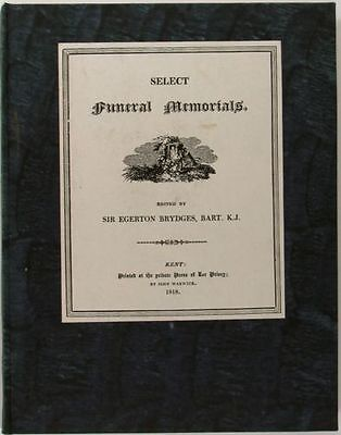 1818 English Book of Memorial & Funeral Writings -Lee Priory Press Limited Ed.