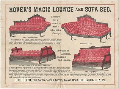 1870s Colored Broadside for Hover's Magic Lounge and Sofa Bed