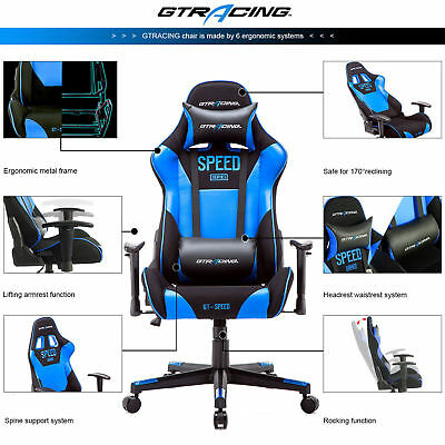 GTracing High Back Gaming Chair Racing Chair Adjustable Recline Office Chair blu