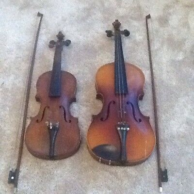 Two Very Old Violins And Bows