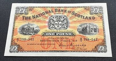 Decent grade 1958 National bank of Scotland £1 note.