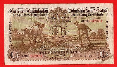 "IRELAND, ""RARE"" The Northern Bank Limited £5 Pound/Punt 1931 Ploughman Banknote"