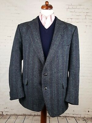 Vtg 1980s 2 Button Grey Striped / Pinstripe Harris Tweed Jacket -50R- EK65