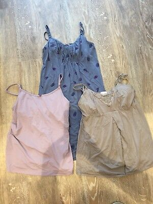 Mamas And Papas Nursing Nightie And 2 X Nursing Sleep Vests Size 12-14