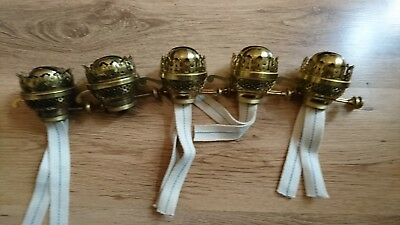 5 Vintage Twin Burners For Antique Oil Lamps New