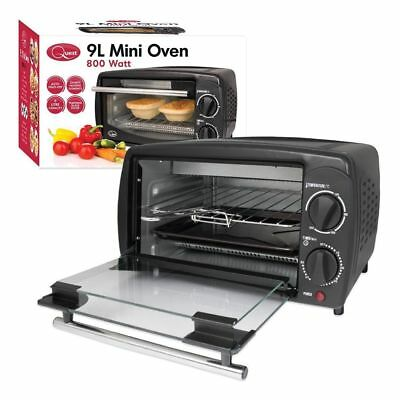 9L 800W Mini Electric Oven Grill Toaster Black Counter Table Top Compact Caravan