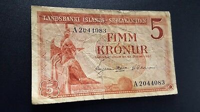 iceland currency 5 fimm kroner m929