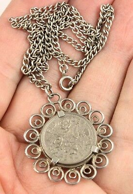 Vintage sterling silver circa 1960's six pence coin 1964 pendant necklace