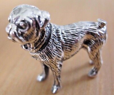 Beautiful Birmingham Hallmarked Solid Sterling Silver Pug - Boston Terrier