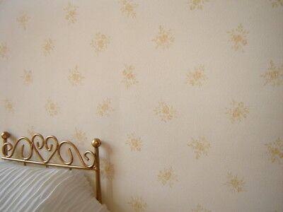 yellow on cream dolls house wallpaper  two sheets for the price of one