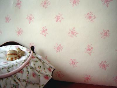 pink on cream dolls house wallpaper  two sheets for the price of one