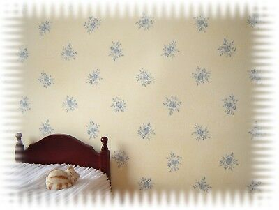 blue on cream dolls house wallpaper  two sheets for the price of one
