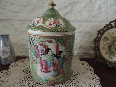 Antique Chinese Raised Famille Tea Caddy Hand Embellished Porcelain Late 1880's