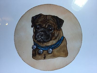 Hand Painted Kiln Fired Stained Glass Pug Dog.