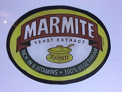 Hand Painted Kiln Fired Stained Glass Marmite Jar Lable