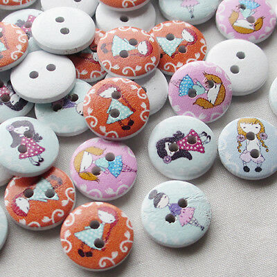 New 50pcs Little Girl w/Skirt Wood Buttons 15mm Sewing Craft Wholesales